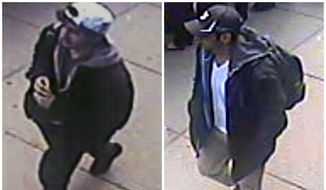 This combination of images released by the FBI on Thursday, April 18, 2013, show two images taken from surveillance video of Dzhokhar (left) and Tamerlan Tsarnaev (right) as they walk near each other through the crowd before the explosions at the Boston Marathon on Monday, April 15, 2013.  (AP Photo/FBI)
