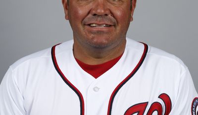 This is a 2014 photo of Brian Daubach of the Washington Nationals baseball team. This image reflects the Nationals active roster as of, Sunday, Feb. 23, 2014, when this image was taken. (AP Photo/Alex Brandon)