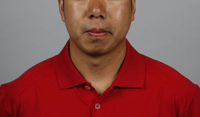 This is a 2014 photo of John Hsu of the Washington Nationals baseball team. This image reflects the Nationals active roster as of, Sunday, Feb. 23, 2014, when this image was taken. (AP Photo/Alex Brandon)