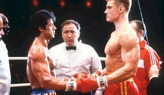 Scene from Rocky IV starring Sylvester Stallone and Dolph Lundgren.