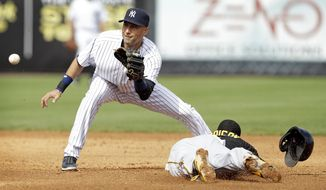 New York Yankees shortstop Derek Jeter waits for the ball before tagging out Pittsburgh Pirates' Josh Harrison, right, during a stolen base attempt in the fifth inning of an exhibition baseball game Thursday, Feb. 27, 2014, in Tampa, Fla. (AP Photo/Charlie Neibergall)