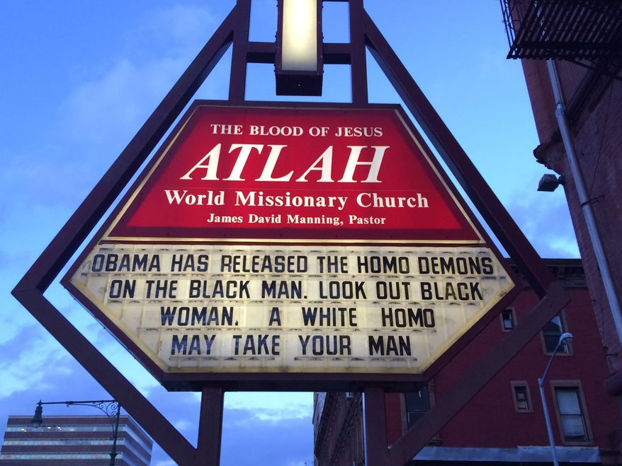 "A church sign in New York City's Harlem is warning black women to be on the lookout for a ""white homo"" trying to steal their man. (Facebook: ATLAHWorldwide)"