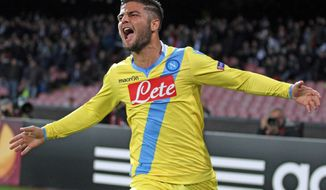Napoli's Lorenzo Insigne celebrates after scoring a goal during an Europe League, round of 32, second leg, soccer match between Napoli and Swansea, at the Naples San Paolo stadium, Italy, Thursday, Feb. 27,  2014. (AP Photo/Tano Pecoraro, Lapresse) ITALY OUT