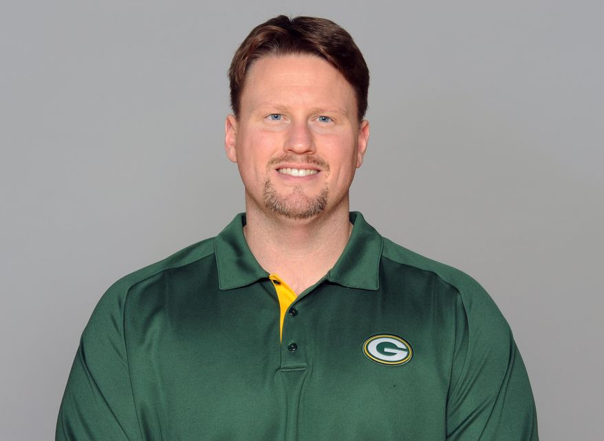 FILE - This is a 2012 file photo showing Ben McAdoo of the Green Bay Packers NFL football team. McAdoo, hired as the new offensive coordinator for the New York Giants, talks to the media for the first time, Thursday, Feb. 27, 2014, since being hired in January to replace Kevin Gilbride. (AP Photo/File)