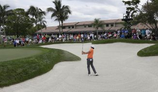 Rory McIlroy of Northern Ireland hits out of a bunker on the fifth hole during the first round of the Honda Classic golf tournament, Thursday, Feb. 27, 2014, in Palm Beach Gardens, Fla. (AP Photo/Lynne Sladky)
