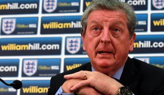 England international soccer team manager Roy Hodgson speaks about the England squad for the upcoming international against Denmark during the press conference at Wembley Stadium, London Thursday Feb. 27, 2014.  Jermain Defoe retained his place in the England squad for the friendly against Denmark on Wednesday March 5, 2014, despite his impending move to Canada. Defoe, who has scored 19 goals in 55 England games, has appeared in only two Tottenham games in two months as he prepares to head to Toronto FC for the start of the Major League Soccer season next month. (AP Photo/Sean Dempsey/PA) UNITED KINGDOM OUT