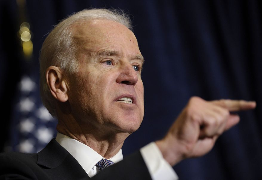 Vice President Joseph R. Biden speaks at the Association of State Democratic Chairs meeting in Washington, Thursday, Feb. 27, 2014. (AP Photo/Susan Walsh)