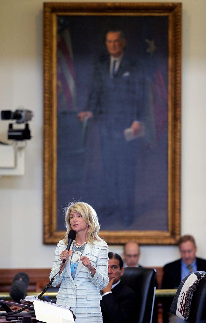Wendy Davis during her filibuster, June 25, 2013.     Associated Press photo
