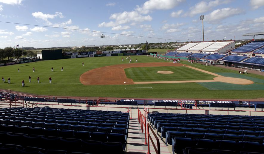 **FILE** Members of the Washington Nationals warm up at Space Coast Stadium during spring training baseball, Thursday, March 1, 2012, in Viera, Fla. (AP Photo/Julio Cortez)