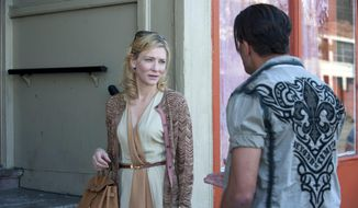 """This image released by Sony Pictures Classics shows Cate Blanchett in a scene from the film, """"Blue Jasmine."""" Blanchett is nominated for an Oscar for her performance as an actress in a leading role. The 86th Academy Awards are held on Sunday, March 2, 2014. (AP Photo/Sony Pictures Classics, file)"""