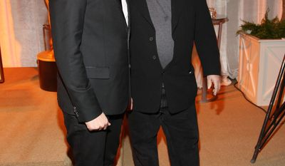 """Thomas Vinterberg, a Danish film director of Oscar-nominated foreign language film """"The Hunt,"""" and Matt Groening seen at 86th Academy Awards - Foreign Language Film Award Reception, on Thursday, Feb. 28, 2014, in Los Angeles, Calif. (Photo by Annie I. Bang /Invision/AP)"""