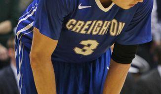 Creighton's Doug McDermott reacts near the end of an NCAA college basketball game against Xavier in Cincinnati on Saturday March 1, 2014. Xavier won 75-69. (AP Photo/Tom Uhlman)