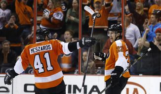 Philadelphia Flyers' Luke Schenn, right, and Andrej Meszaros celebrate after Schenn's goal during the third period of an NHL hockey game against the New York Rangers, Sunday, March 2, 2014, in Philadelphia. Philadelphia won 4-2. (AP Photo/Matt Slocum)