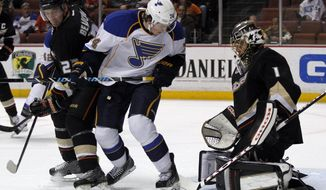 St. Louis Blues right wing T.J. Oshie, center, searches for the puck between Anaheim Ducks defenseman Francois Beauchemin, left, and goalie Jonas Hiller (1) during the first period of an NHL hockey game on Friday, Feb. 28, 2014, in Anaheim, Calif. (AP Photo/Alex Gallardo)