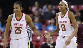 Maryland forward Alyssa Thomas, left, and center Alicia DeVaughn high-five during a break in play in the first half of an NCAA college basketball game against Virginia Tech in College Park, Md., Sunday, March 2, 2014. (AP Photo/Patrick Semansky)