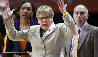 Tennessee head coach Holly Warlick, foreground, reacts to a call in the second half of an NCAA college basketball game against South Carolina, Sunday, March 2, 2014, in Knoxville, Tenn. Tennessee won 73-61. (AP Photo/Wade Payne)