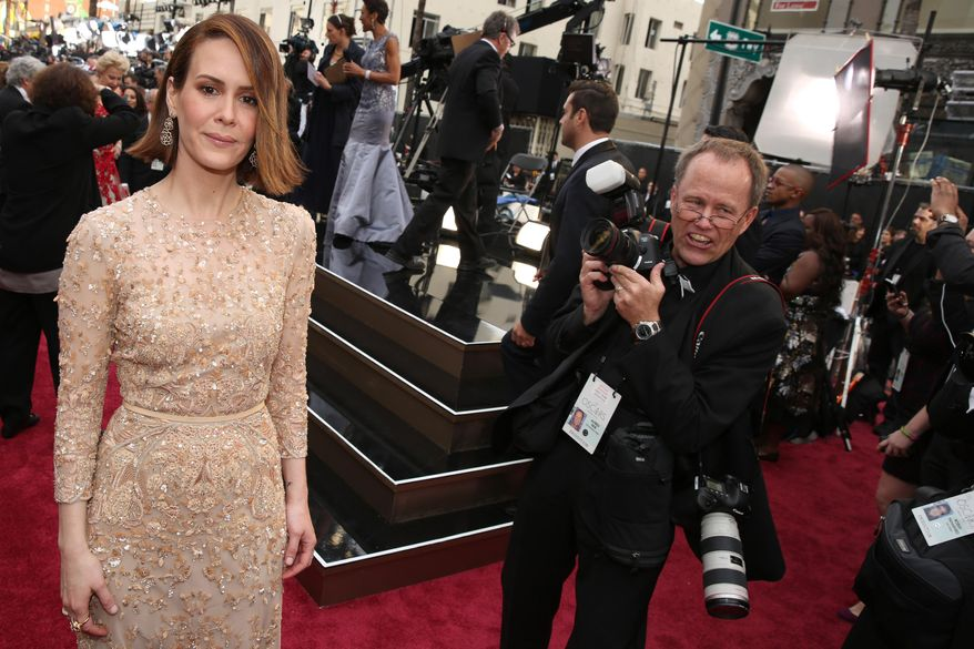 Sarah Paulson arrives at the Oscars on Sunday, March 2, 2014, at the Dolby Theatre in Los Angeles.  (Photo by Matt Sayles/Invision/AP)