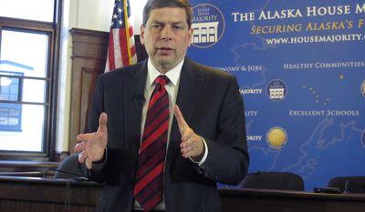 U.S. Sen. Mark Begich, D-Alaska, addresses reporters during a news conference after he spoke to a joint session of the Alaska Legislature on Monday, March 3, 2014, in Juneau, Alaska. (AP Photo/Becky Bohrer)