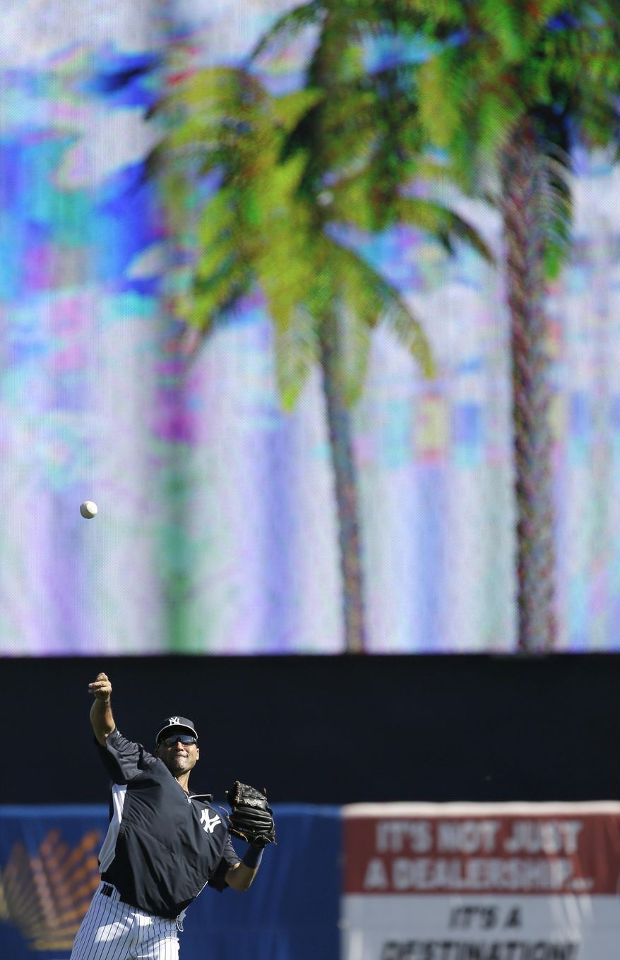 New York Yankees shortstop Derek Jeter throws in the outfield before an exhibition baseball game against the Washington Nationals Monday, March 3, 2014, in Tampa, Fla. (AP Photo/Charlie Neibergall)