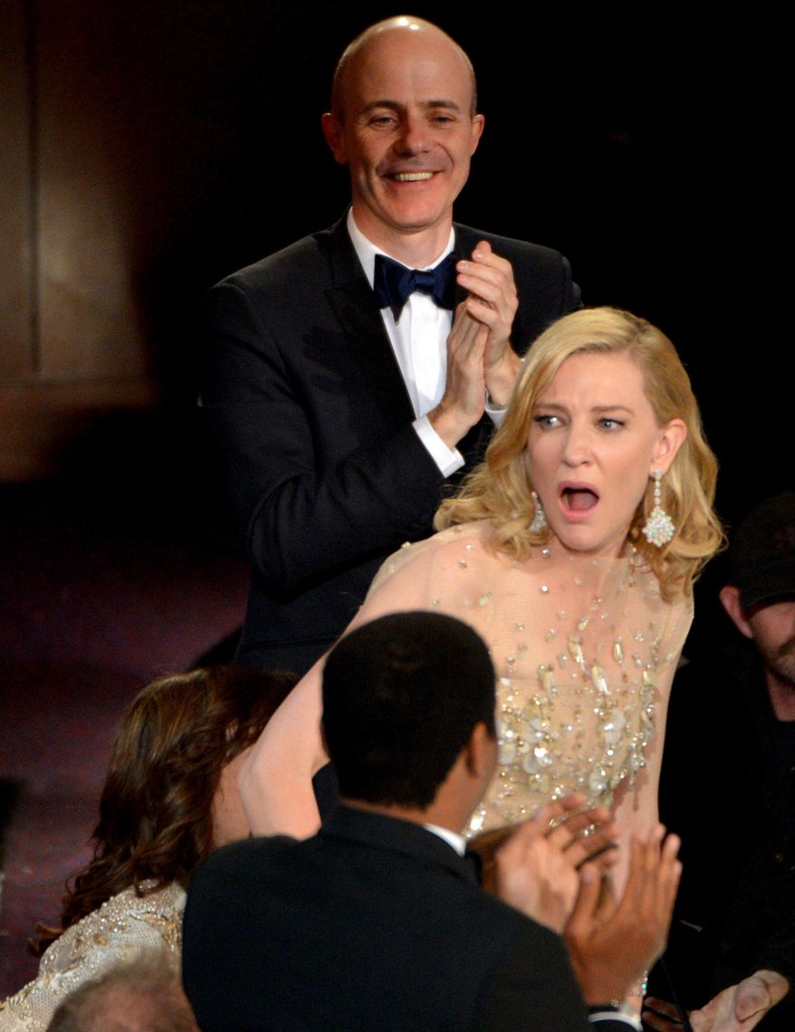 """Cate Blanchett reacts after winning the award for best actress in a leading role for """"Blue Jasmine"""" during the Oscars at the Dolby Theatre on Sunday, March 2, 2014, in Los Angeles.  (Photo by John Shearer/Invision/AP)"""