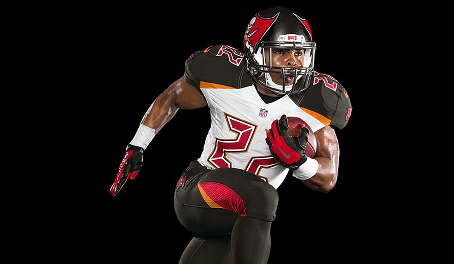 This photo provided by the Tampa Bay Buccaneers, shows the team's new NFL Nike Elite 51 Uniform design for the 2014 season. The uniform is a completely integrated system of dress with a new design that honors the Buccaneers' rich tradition while boldly bringing the team into the future. (AP Photo/Tampa Bay Buccaneers)