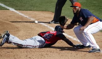 Atlanta Braves' Cedric Hunter, left, gets back to first in time as Houston Astros first baseman Jon Singleton waits for the ball in the sixth inning of a spring exhibition baseball game on Sunday, March 2, 2014, in Kissimmee, Fla. The Astros won 7-4. (AP Photo/Alex Brandon)