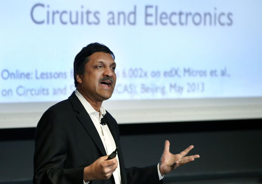 """Anant Agarwal, president of edX, an online learning platform, speaks at the Massachusetts Institute of Technology in Cambridge, Mass., Monday, March 3, 2014 about """"Big Data Opportunities for Improving Online Education."""" MIT has teamed up with the White House to host a conference on how to maintain privacy in the digital era and discuss ways to protect privacy as technology continues to evolve. (AP Photo/Elise Amendola)"""