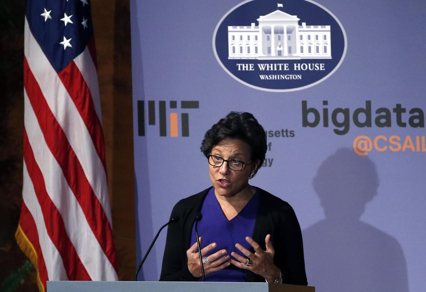 U.S. Commerce Secretary Penny Pritzker speaks at the Massachusetts Institute of Technology in Cambridge, Mass., Monday, March 3, 2014. MIT has teamed up with the White House to host a conference on how to maintain privacy in the digital era and to discuss ways to protect privacy as technology continues to evolve. (AP Photo/Elise Amendola)
