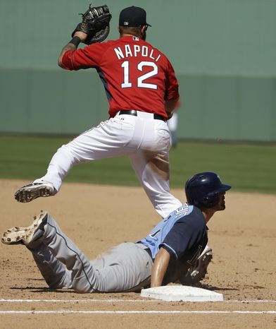 Tampa Bay Rays' David DeJesus, below, is picked off at first base with the bases loaded as Boston Red Sox first baseman Mike Napoli, top, makes the play in the third inning of an exhibition baseball game, Tuesday, March 4, 2014, in Fort Myers, Fla. (AP Photo/Steven Senne)