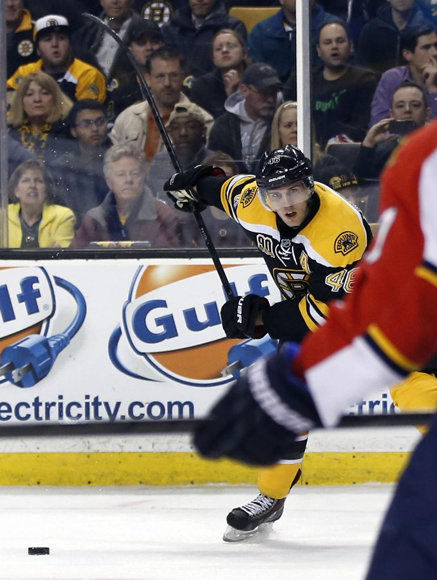 Boston Bruins center David Krejci (46) winds up for a shot against the Florida Panthers in the second period of an NHL hockey game in Boston, Tuesday, March 4, 2014. Krejci had three goals, leading the Bruins to a 4-1 victory. (AP Photo/Elise Amendola)