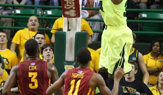 Baylor forward Cory Jefferson (34) dunks over Iowa State's Melvin Ejim (3) and Monte Morris (11) during the first half of an NCAA college basketball game, Tuesday, March 4, 2014, in Waco, Texas. (AP Photo/Waco Tribune Herald, Rod Aydelotte)