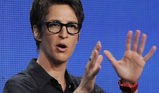 "Rachel Maddow, host of ""The Rachel Maddow Show"" on MSNBC, takes part in a panel discussion at the NBC Universal summer press tour in Beverly Hills, Calif., on Aug. 2, 2011. (Associated Press) ** FILE **"