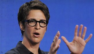 "**FILE** Rachel Maddow, host of ""The Rachel Maddow Show"" on MSNBC, takes part in a panel discussion at the NBC Universal summer press tour in Beverly Hills, Calif., on Aug. 2, 2011. (Associated Press)"