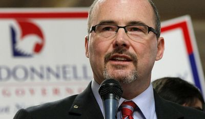 Assemblyman Tim Donnelly, R-Twin Peaks announces he's running for California Governor at the Darafeev Furniture Factory in Baldwin Park Tuesday, Nov. 5, 2013. (AP Photo/Nick Ut)