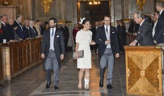 Prince Carl Philip, left, Crown Princess Victoria and Prince Daniel arrive Sunday,March 2, 2014 at a thanksgiving service for the birth of Princess Leonore, child of Princess Madeleine and Christopher O'Neill in New York last week. (AP Photo/TT, Henrik Montgomery)   SWEDEN OUT