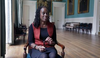 New York City first lady Chirlane McCray is interviewed at New York's City Hall, Wednesday, March 5, 2014. McCray will lobby for her husband's pre-kindergarten plan in Albany next week,  The trip was revealed to The Associated Press on Wednesday during her first extensive interview since her husband Bill de Blasio took office in January. (AP Photo/Richard Drew)