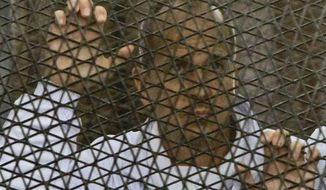 Al Jazeera journalist Peter Greste stands inside the defendants' cage in a courtroom during a trial on terror charges, along with several other defendants, in Cairo Egypt, Wednesday, March 5, 2014. (AP Photo/Mohammed Abu Zaid)