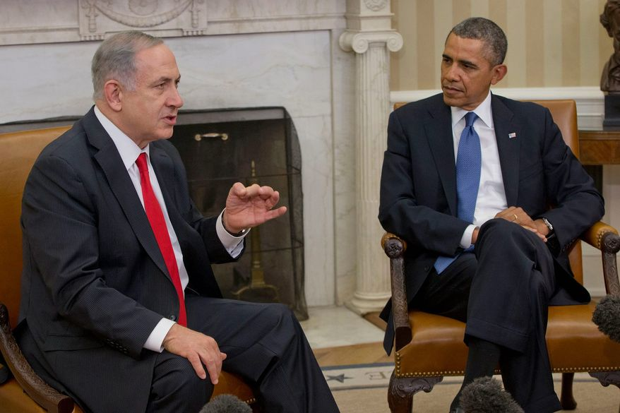 Israeli Prime Minister Benjamin Netanyahu and President Obama confer at the White House on March 3, 2014.  (Associated Press) **FILE**