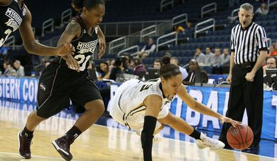 Missouri forward Bri Kulas (13) looses her grip on the ball as she tries to get past Mississippi State guard Jerica James (21) in the first half of a first-round Women's Southeastern Conference tournament NCAA college basketball game Wednesday, March 5, 2014, in Duluth, Ga. (AP Photo/Jason Getz)