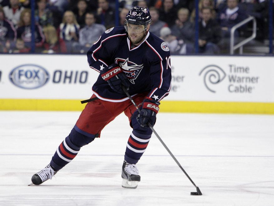 FILE- In this Oct. 25, 2013 file photo,  Columbus Blue Jackets' Marian Gaborik, of Slovakia, plays against the Toronto Maple Leafs in an NHL hockey game in Columbus, Ohio. The Los Angeles Kings have acquired veteran goal-scorer Gaborik. The Blue Jackets get right wing Matt Frattin and a second-round pick in the 2014 draft, plus a conditional third-rounder if the Kings win their first-round playoff series or re-sign Gaborik. (AP Photo/Jay LaPrete, File)