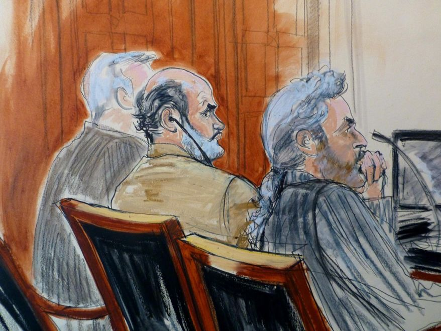 In this courtroom sketch, Sulaiman Abu Ghaith, center, is flanked by his legal team Monday, March 3, 2014 during jury selection at the start of his trial in New York on charges that he conspired to kill Americans and support terrorists in his role as al-Qaida's spokesman after the Sept. 11 attacks. Abu Ghaith is Osama bin Laden's son-in-law and is  the highest-ranking al-Qaida figure to face trial on U.S. soil since the Sept. 11 attacks. Seated at right is defense attorney Stanley Cohen. (AP Photo/Elizabeth Williams)