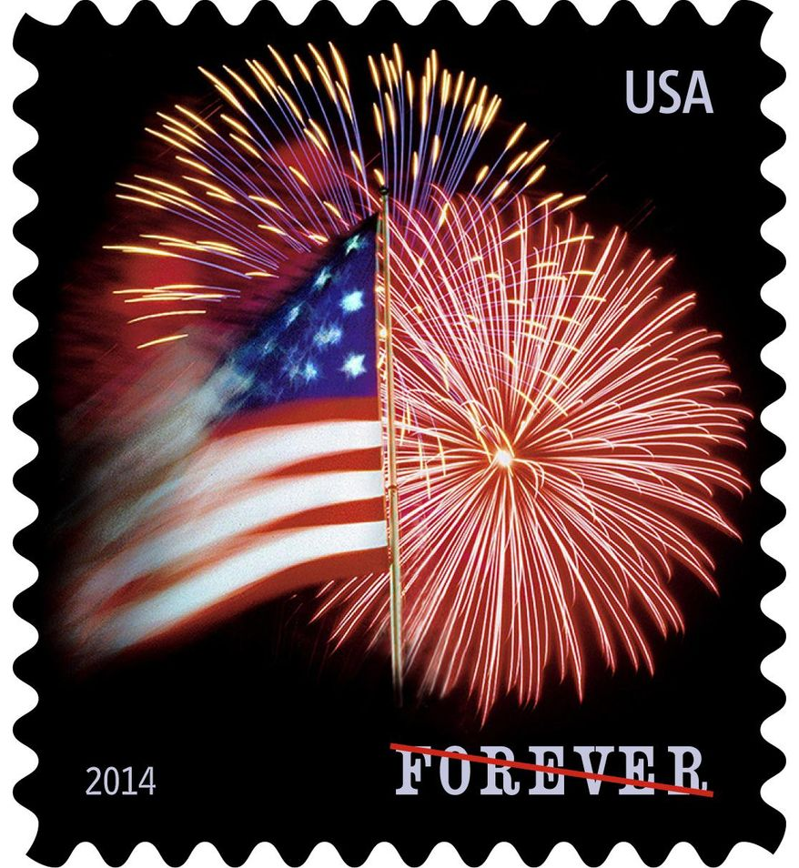 This undated handout image provided by the US Postal Service shows Star Spangled Banner forever stamp. The Smithsonian Institution is beginning a celebration of the 200th anniversary of the flag and song that became the national anthem with a new forever stamp from the U.S. Postal Service. The star-spangled banner stamp was dedicated Thursday at the National Museum of American History. The Smithsonian has housed the flag that inspired the words for the national anthem since the early 1900s. (AP Photo/USPS)