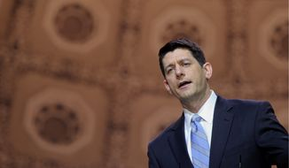 """House Budget Committee Chairman Rep. Paul Ryan, R-Wis. speaks at the Conservative Political Action Committee annual conference in National Harbor, Md., Thursday, March 6, 2014. Ryan said GOP leaders and conservative activists should """"give each other the benefit of the doubt"""" in the debate over the party's future. (AP Photo/Susan Walsh)"""