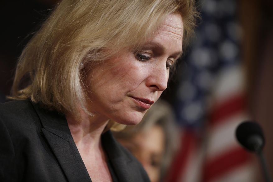 Sen. Kirsten Gillibrand, D-N.Y. pauses while speakig at a news conference  on Capitol Hill in Washington, Thursday, March 6, 2014, following a Senate vote on military sexual assaults. The Senate blocked a bill that would have stripped senior military commanders of their authority to prosecute rapes and other serious offenses, capping an emotional, nearly yearlong fight over how best to curb sexual assault in the ranks. (AP Photo/Charles Dharapak)
