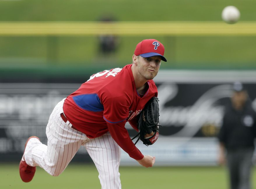 Philadelphia Phillies starting pitcher Kyle Kendrick delivers during the second inning of a spring exhibition baseball game against the New York Yankees, Thursday, March 6, 2014, in Clearwater, Fla. (AP Photo/Charlie Neibergall)