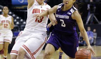 Northwestern guard Ashley Deary, right, drives on Ohio State guard Cait Craft ``in the second half of an NCAA college basketball game in the opening round of the Big Ten Tournament in Indianapolis, Ind., Thursday, March 6, 2014. Ohio State defeated Northwestern  86-77. (AP Photo/Michael Conroy)