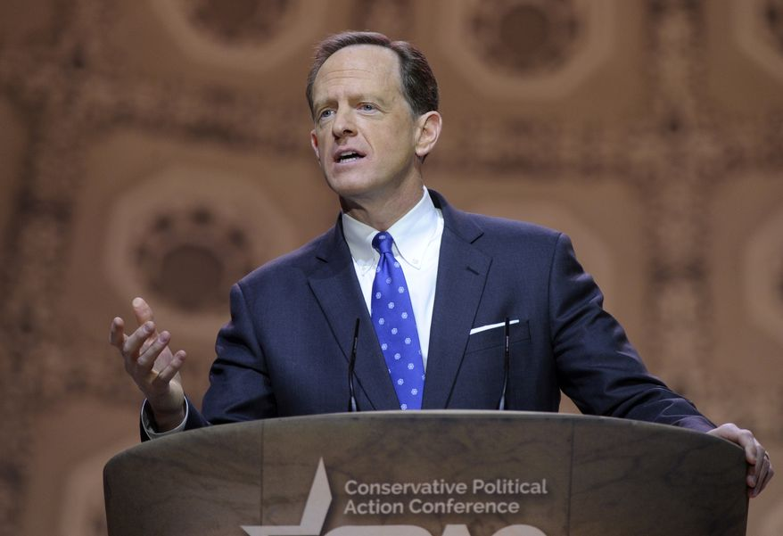 Sen. Pat Toomey, R-Pa. speaks at the Conservative Political Action Committee annual conference in National Harbor, Md., Thursday, March 6, 2014. (AP Photo/Susan Walsh) ** FILE **