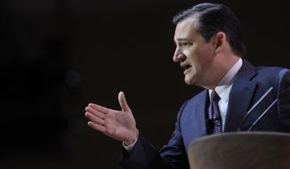 Sen. Ted Cruz, R-Texas speaks at the Conservative Political Action Committee annual conference, Thursday, March 6, 2014, in National Harbor, Md. Thursday marks the first day of the annual Conservative Political Action Conference, which brings together prospective presidential candidates, conservative opinion leaders and tea party activists from coast to coast. (AP Photo/Susan Walsh)