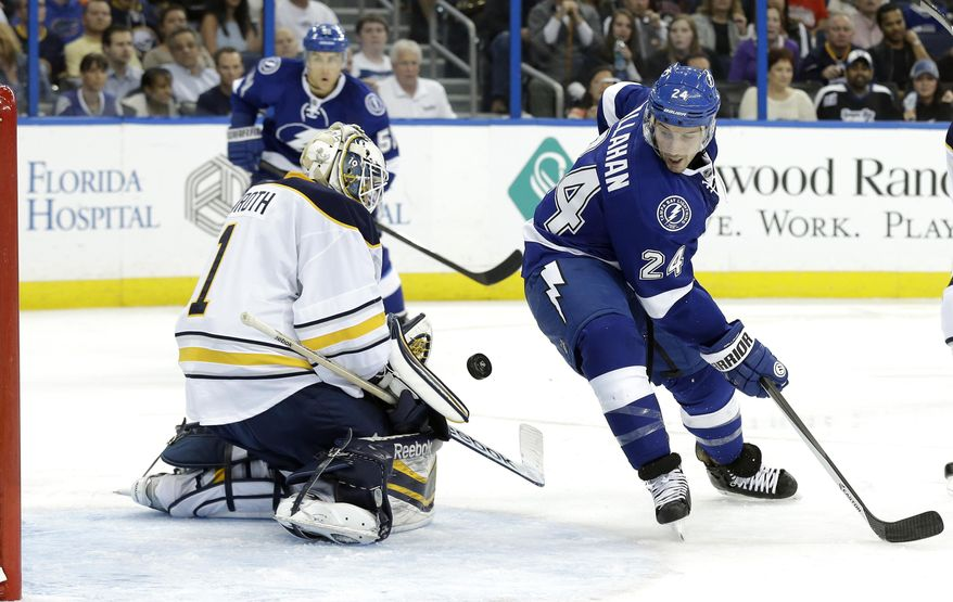 New Tampa Bay Lightning right winger Ryan Callahan (24) is stopped by Buffalo Sabres goalie Jhonas Enroth (1), of Sweden, on a shot during the second period of an NHL hockey game Thursday, March 6, 2014, in Tampa, Fla. (AP Photo/Chris O'Meara)