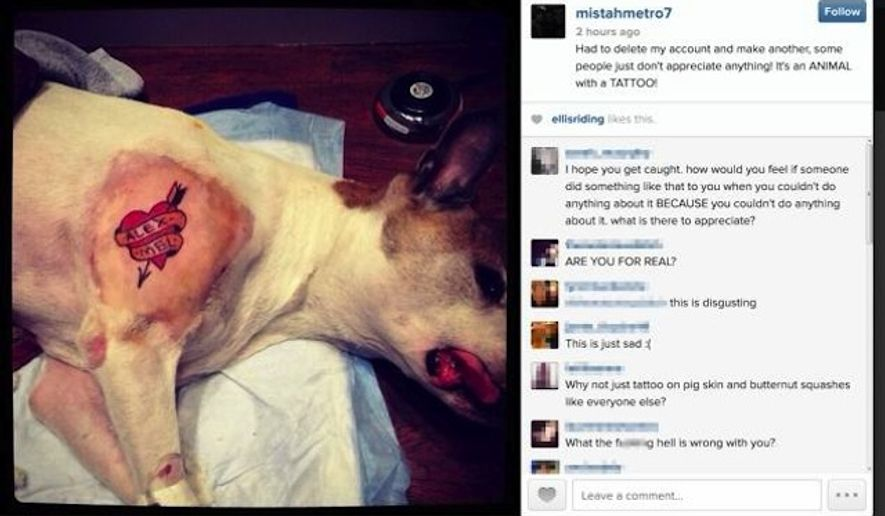 A New York City tattoo artist, known as Mistah Metro, drew a firestorm of criticism after bragging on Instagram that he tattooed his dog while it was under anesthesia. (Instagram via New York Daily News)
